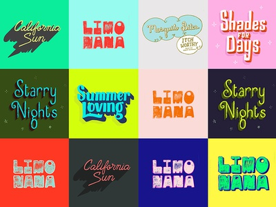 Summer Loving  typography lettering outdoors night sun california drinks shades starry nights summer zine handlettering