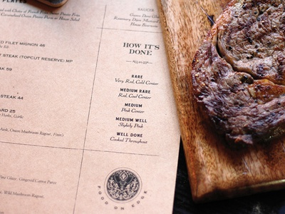 BS Co. Menus wood eat steakhouse brand development copy menu branding restaurant meat steak booklyn