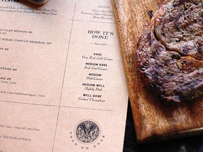 BS Co. Menus wood eat steakhouse brand development copy menu branding restaurant meat steak booklyn