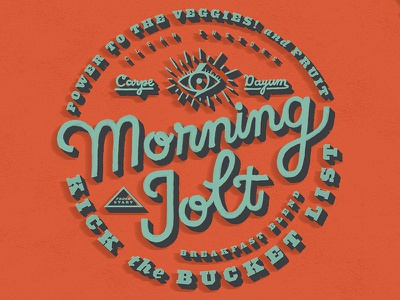 Morning Jolt Label gif retro morning jolt morning coffee cafe carpe diem handlettering typography smoothie sticker am