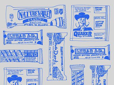 Bars Collage illustration nature valley quaker travel bars snack health food zine sharpie handlettering
