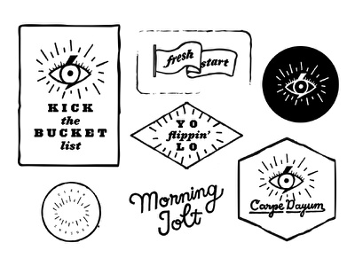 Morning Jolt Sticker Pack typography coffee morning stickers smoothie carpe diem yolo frames retro pattern morning jolt