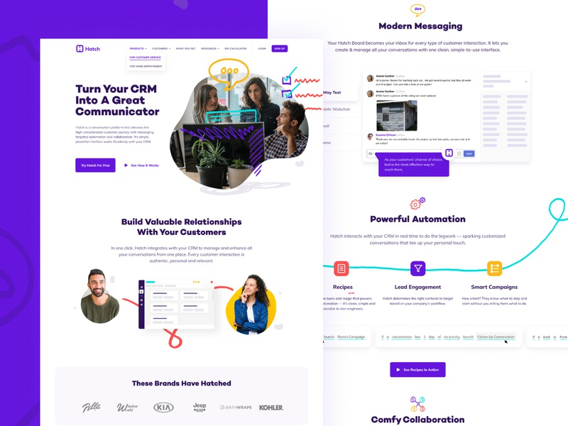 Hatch Homepage landing homepage user interface responsive interface product website web web design ui