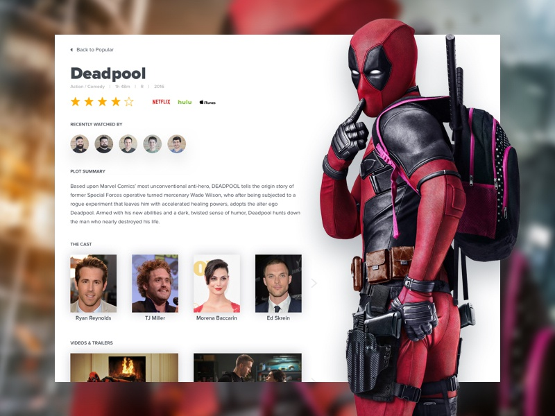 Movie Details Screen @Deadpoolmovie web design deadpool user interface ui tv television responsive product design netflix movies hulu