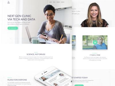 Next Gen Clinic video player web design web ui minimal hero landing interface homepage testimonial gradient clean