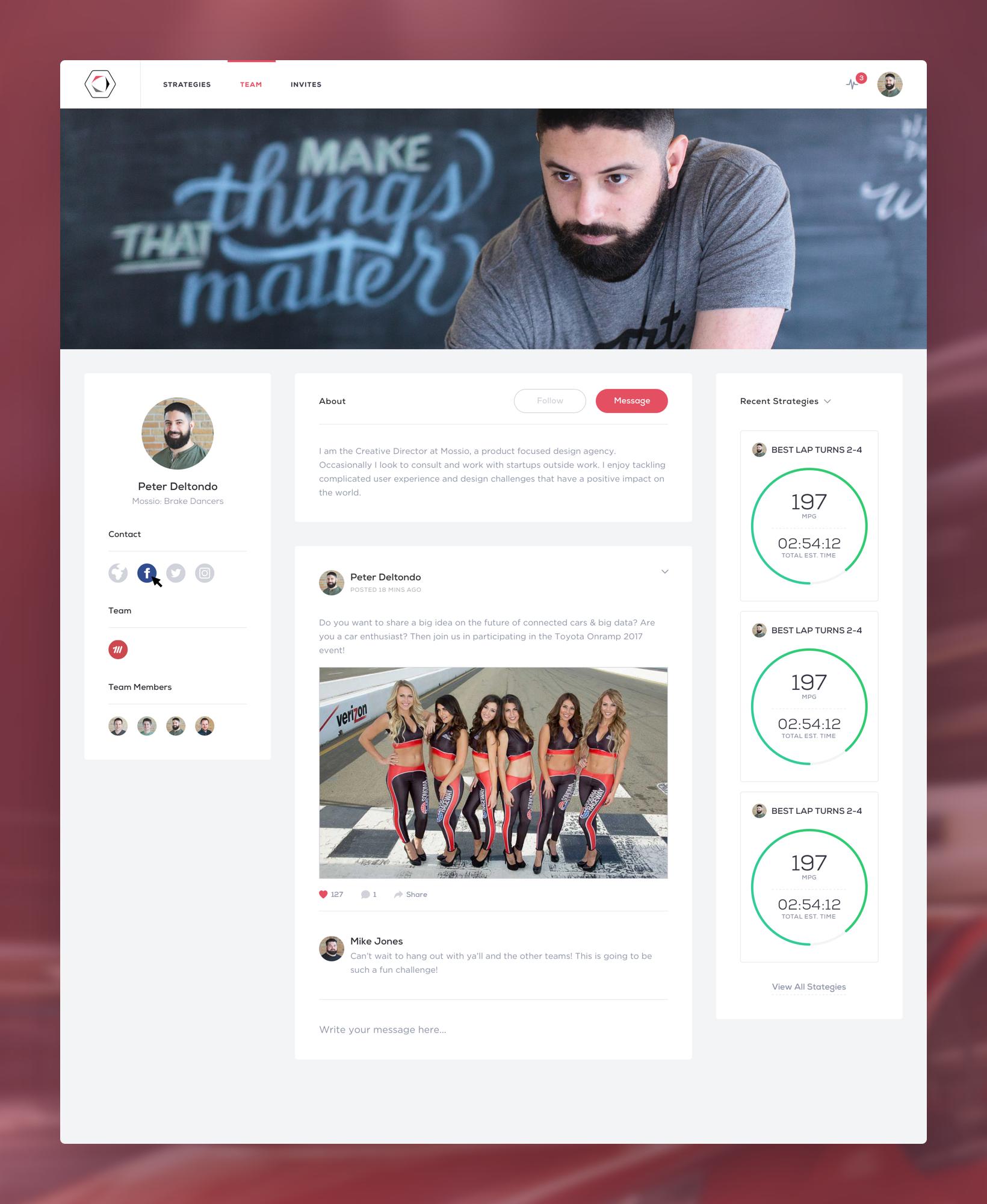 Toyota onramp series social dashboard user profile peter deltondo mossio attachment  2x