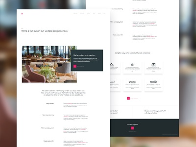 About Mossio team office about us user interface ui website site landing about clean studio agency
