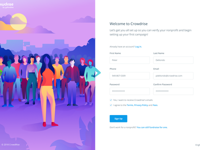 Crowdrise by GoFundMe Sign Up Page ux interface user interface web product homepage gradient web design form fundraising charity sign up minimal responsive website site page landing illustration design