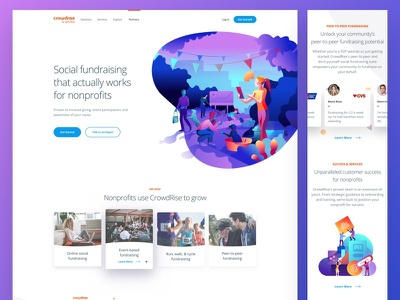 Crowdrise by GoFundMe Home Page branding ui clean typography minimal user interface interface web design product web site landing responsive hero illustration gradient website home homepage design