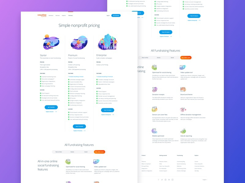 Crowdrise by GoFundMe Pricing Page app ux typography branding enterprise user interface landing minimal web website interface purchase gradient clean responsive pricing product web design ui illustration