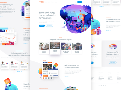 Crowdrise By GoFundMe Site mobile icon ui design charts hero landing user interface homepage minimal app interface web website gradient typography product clean illustration responsive web design
