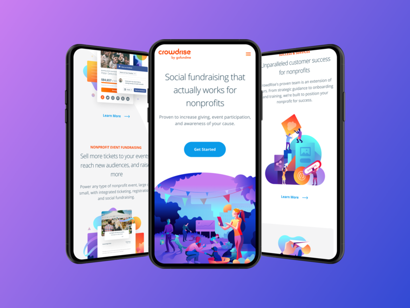 Mobile Homepage for CrowdRise By GoFundMe branding ux ui typography mobile hero illustration product iphone user interface homepage landing gradient website clean app responsive web gofundme web design