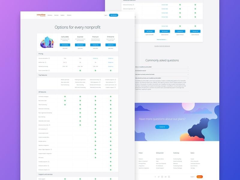 Updated Full Feature Pricing List minimal user interface ui interface typography clean ux features plan pricing page pricing tables table illustration gradient website responsive product web web design