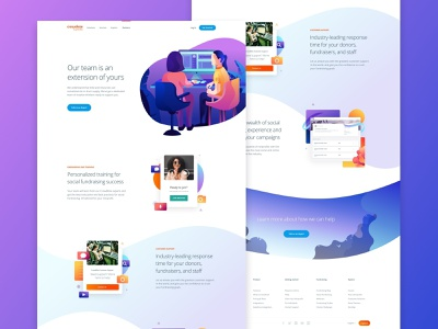 Customer Success Page working customer mobile typography branding hero interface clean minimal success homepage landing product gradient illustration web design web responsive website gofundme