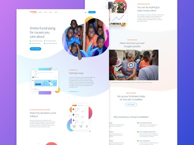 Online Fundraising Info Page mobile clean hero typography interface ux product homepage landing user interface grabient gradient illustration website fundraising responsive web web design ui gofundme