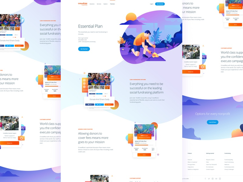 Essential Plan ui design product branding mobile hero typography interface clean ux homepage responsive landing user interface website grabient gradient illustration web web design ui