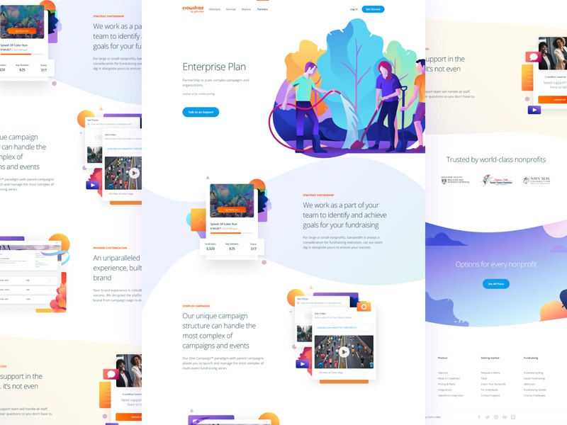 Enterprise Plan ui design donate charity people hero ui typography vector product clean homepage responsive interface landing gradient illustration user interface web website web design