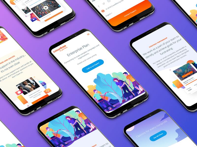 Enterprise Plan Mobile people hero ui design grabient landing product interface mobile homepage ux vector app user interface gradient illustration responsive website web web design ui
