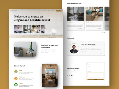 Monochrom Design Interior - Landing Page website ux ui web typography design