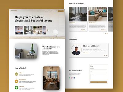 Monochrom Design Interior - Landing Page website ux ui web typography design