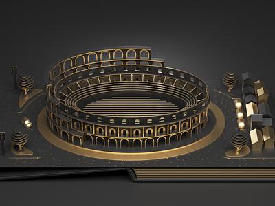 Rome design fun book gold concept city 3d