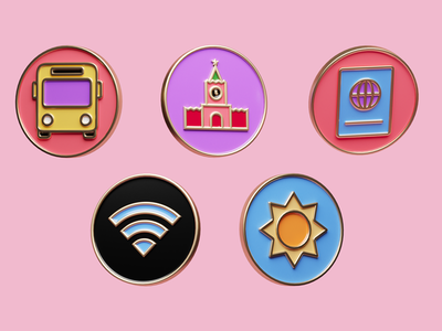 Badges wi-fi book sun bus render icon gold 3d