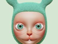 moon rabbit design character photoshop 3dsmax