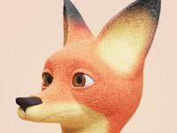 fox character fur illustration design concept 3d