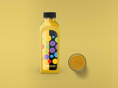 Juice Bottle Label Mockup vector illustration branding design