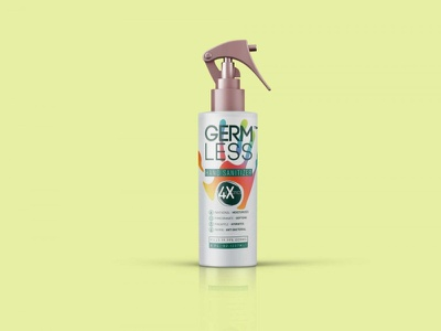 Germ Less Sanitizer Bottle Mockup photoshop photography psd logo menu illustration branding template design mockup bottle sanitizer less germ