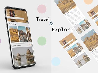 Travel & Explore App (Youtube Tutorial) illustrator graphic design art branding illustration design app typography ui ux