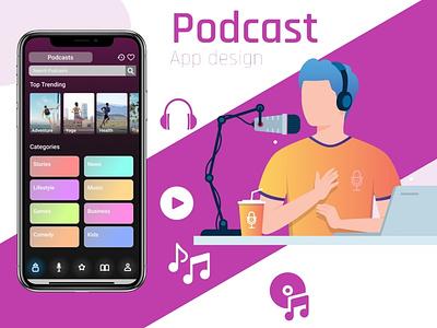 Podcast App Design figma ui uxdesign illustrator