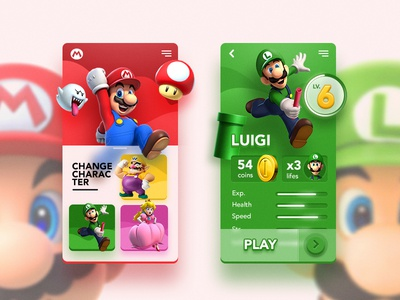Mario Game UI cartoon app 3d coin design ui game lugi mario