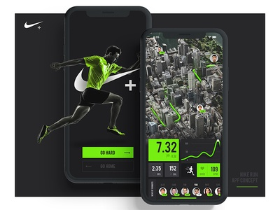 Nike Run App green black graphic design ui nike run 3d map app