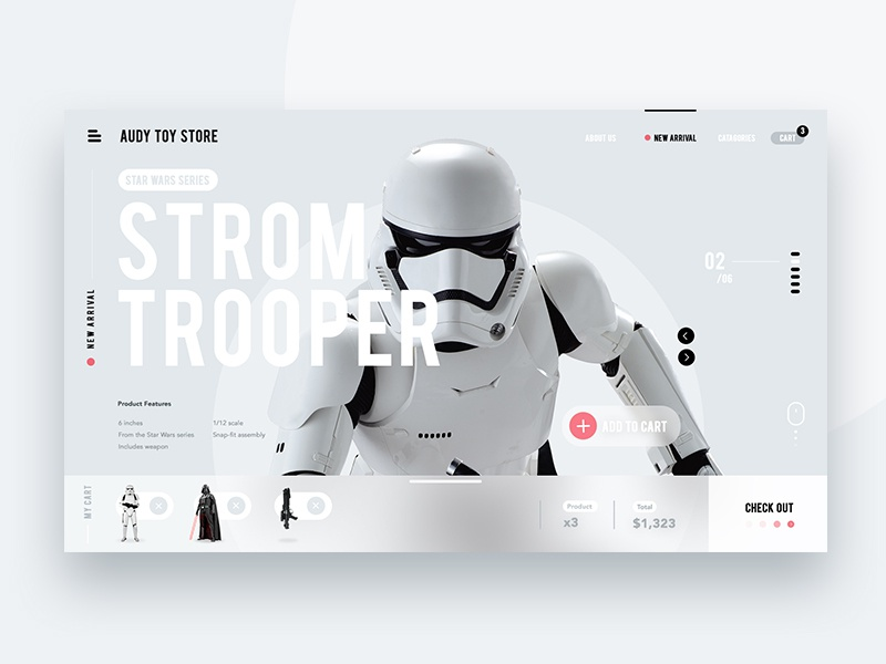 Toy store website minimal clean wars star website web ui onepage vador darth trooper storm