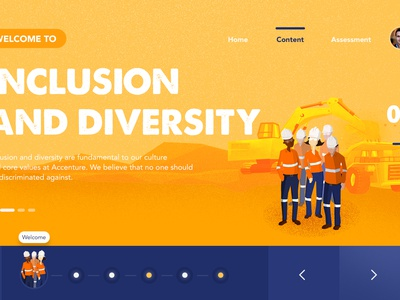 E-Learning UI illustration website e-learning learning app e learning online course contractor mining design ui learning