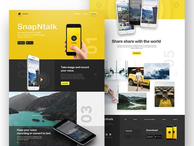 Camera app website modern black yellow re ux ui app camera design web website