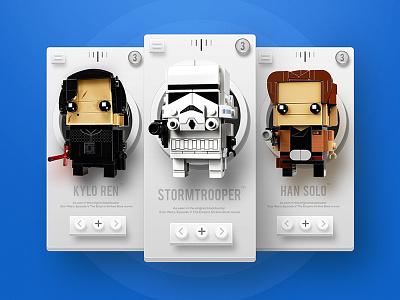 Lego Starwars app ui game clean 3d design app ux ui hansolo stormtrooper starwars lego