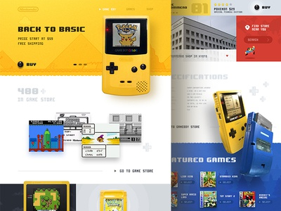 Gameboy color website (concept) games character design ux web ui button mario pokemon retro clean layout website game color gameboy