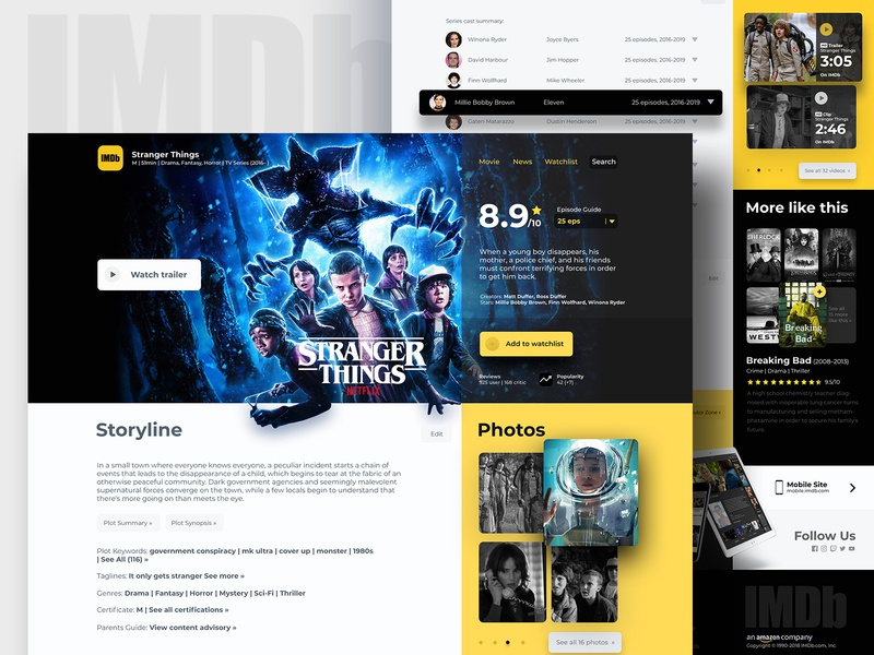 IMDb Stranger Things page movie yellow stranger things typography ux ui design heading redesign webdesign minimal clean landing page web website ui strangerthings imdb