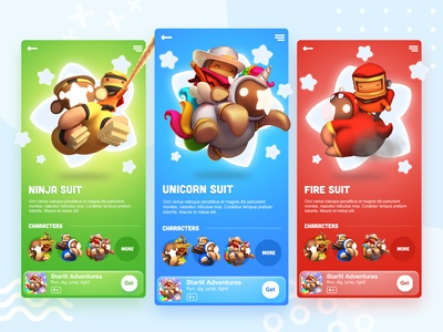Get App page Game Ui download adventure starlita app character cartoon ux graphic design minimal blue green red clean ui game app game ui game
