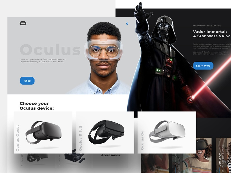 Oculus Website Concept product web game design ux headset vader darth starwars ar vr minimal clean website app ui oculus