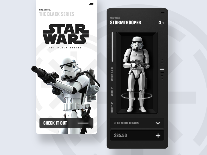 Toy Store Web App website product webdesign mobile dark design character game ux ui minimal clean white black stormtrooper starwars app web store toy