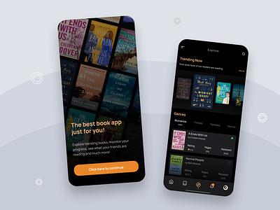 An app to discover books ios14 fresh beautiful dark ui darkmode dark bookapp books iphone12 android iphone app flat minimal design ux ui firstshot