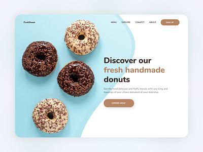 Fresh Donuts Landing Page clean concept minimal sweets website designing bootstrap landingpage creative color web breakfast food uiux ui website design website bakery donuts beautiful design