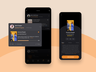 Book App iphone android uidesign uxdesign clean design uiux flat ux book app books dark theme darkui dark darkmode beautiful app ui minimal design