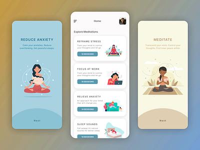 Meditation App clean ui clean uiux meditation meditation app mobile uxdesign uidesign illustration iphone ux flat beautiful app ui minimal design