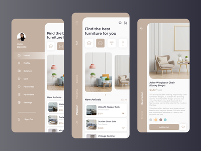 Furniture App ios app design furniture store ecommerce chair app furniture app furniture modern design clean ui mobile app online shop app ux flat beautiful ui minimal design