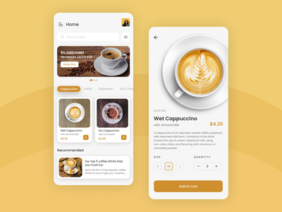 Coffee Ordering App - Light Mode ios order food drink shop ecommerce concept mobile app design light mode light coffee cappuccino coffee shop uiux minimal design clean android ux ui