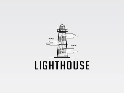 Lighthouse illustration vector illustrator lighthouse light logo logotype flat black brand